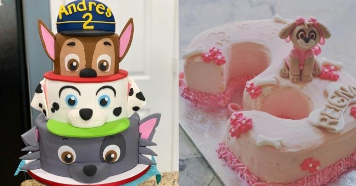 gateau chien original à thème pat patrouille, gâteau glaçage rose poudré avec figurine pat patrouille