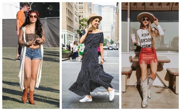 adopter la mode bohème, short en denim, bottes en cuir marron, gilet long, robe bohème longue, jupe mini cuir