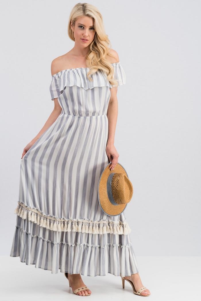 quels motifs mode été 2019, modèle de robe col bateau longue, exemple de robe longue été à design rayé avec sandales beige