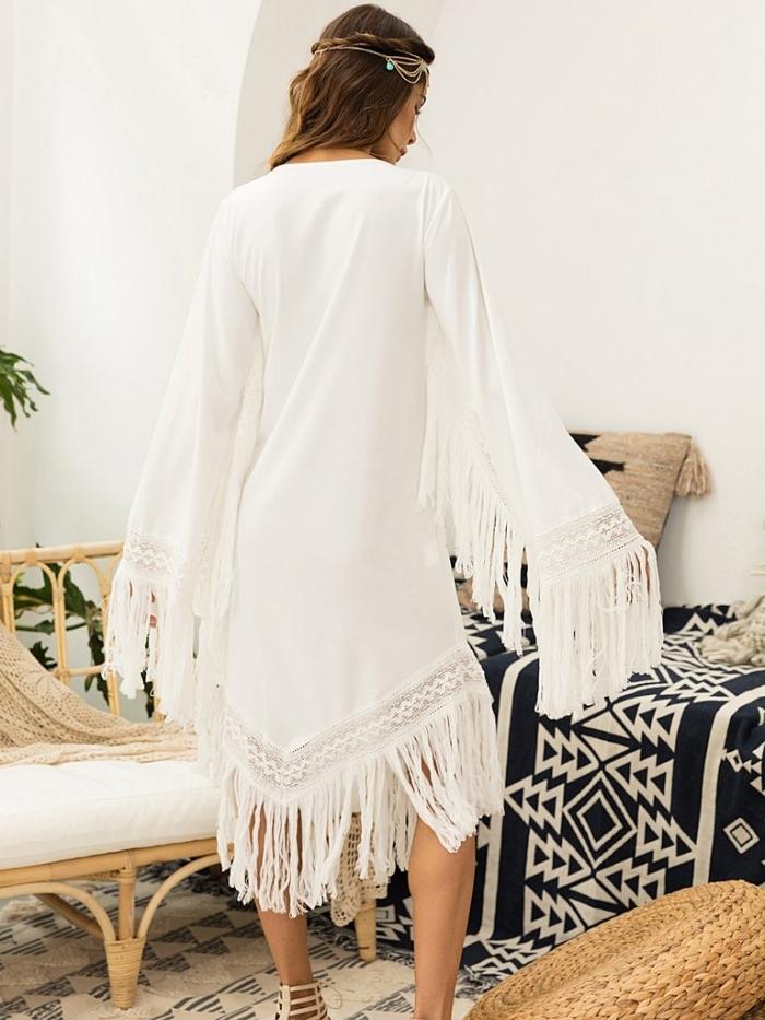 comment porter une robe bohème chic avec frange et manches longues, idée sandales spartes en beige avec robe blanche