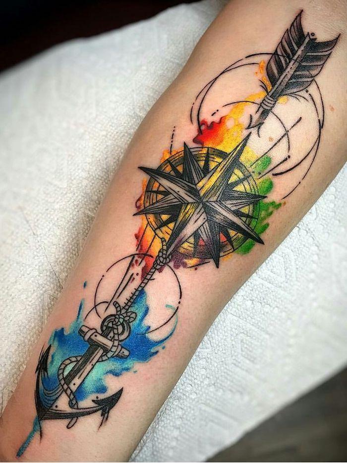 tatouage flèche, boussole et ancre avec des éléments nuages colorés, éléments détails aquarelle