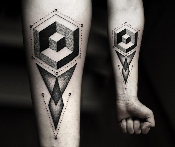 formes et figurine géométriques tatouées en couelur noire, exemple style graphique dessin interessant