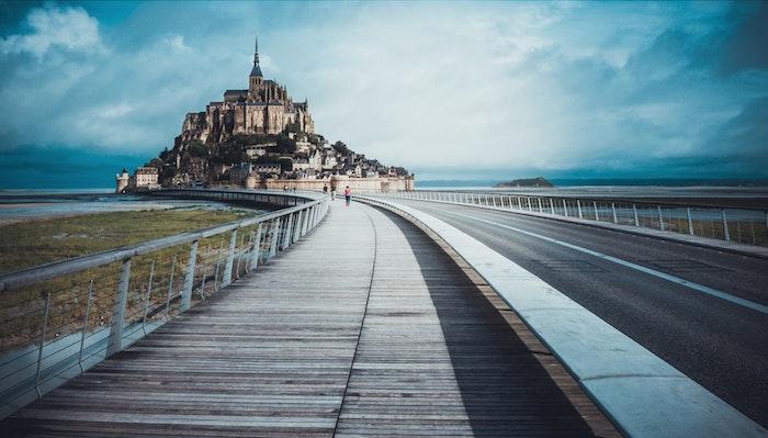 Mont Saint Michel France fond d'écran paysage de chateau, photographie de paysage fantastique en france