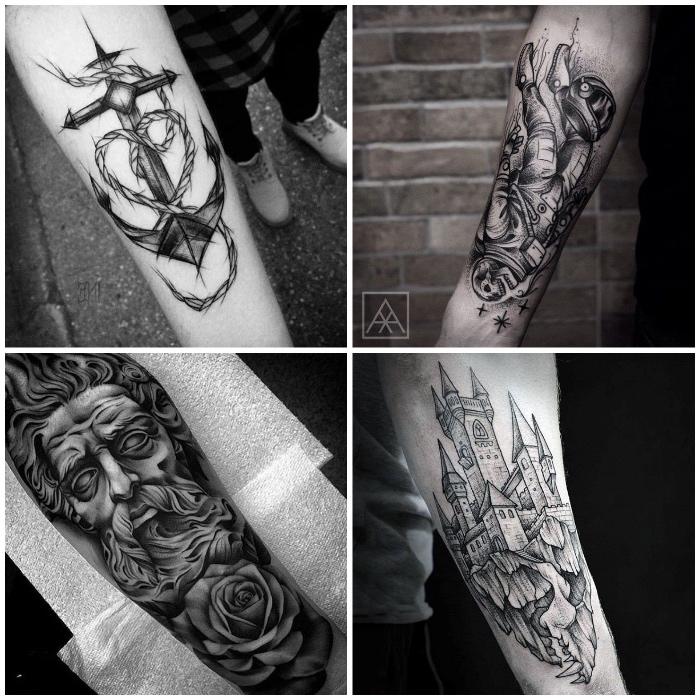 tatouages graphiques symboliques avant bras homme, ancre, portrait, squelette cosmonaut et château