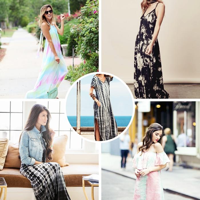 choisir une robe habillée à design tie and dye, modèle de robe d'été longue avec manches courtes et décolleté en v