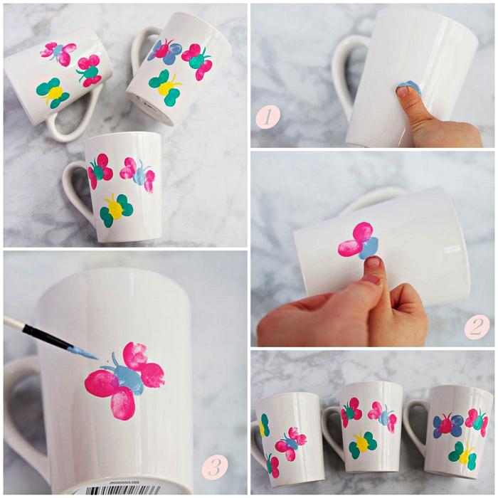 idée de cadeau fête des mères a faire soi meme avec les enfants, bricolage pour les tout petits à l'occasion de la fête des mères, un mug personnalisé
