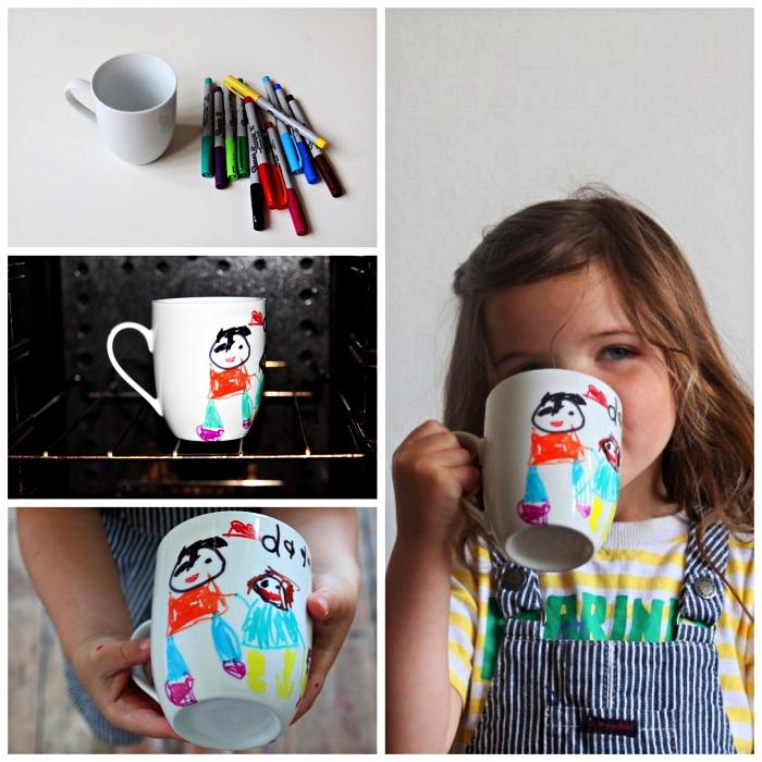 mug en céramique personnalisé avec dessin d'enfant papa et fille, bricolage fête des pères pour tout petit