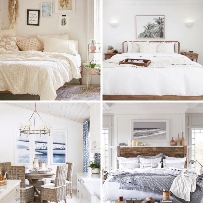 comment aménager une chambre à coucher esprit plage, modèle pièce minimaliste en blanc et bois avec accessoires bord de mer