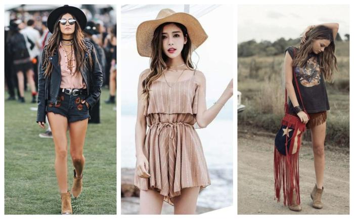 tenue hippie femme, short et capeline, sac frangé, t-shirt rose, combinaison femme rose nude, capeline beige