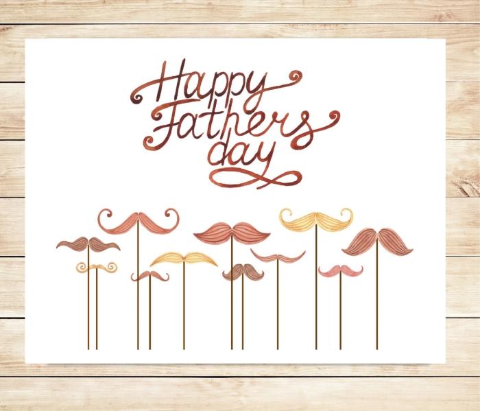 exemple de carte DIY aux illustrations avec moustaches et lettres bonne fête papa, bricolage fête des pères facile