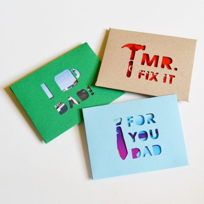 idée cadeau fête des pères à fabriquer maternelle, modèle de carte DIY en papier coloré aux motifs outils découpés en papier