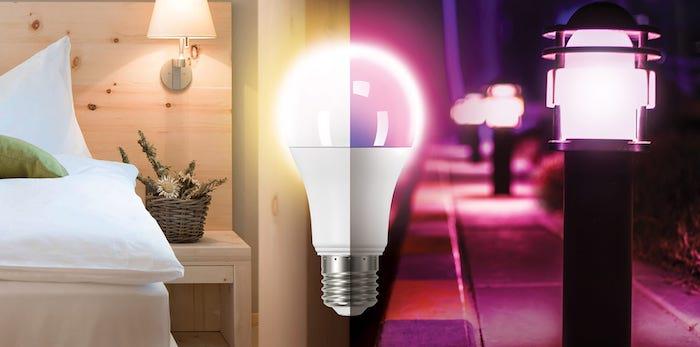 Photo qui montre les possibilités d'utilisation de la lampe LED pour la décoration d'intérieur, l'éclairage dans les chambres, mais aussi dans le jardin et les espaces extérieurs