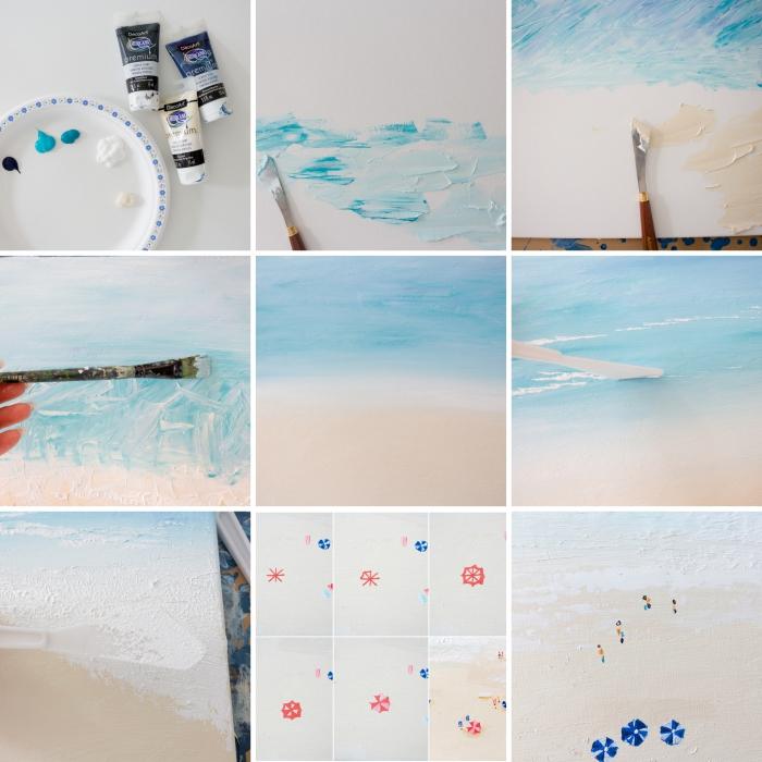 apprendre à réaliser un paysage océanique, idée peinture aquarelle à faire soi-même, tutoriel peinture facile plage