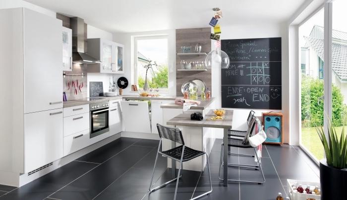 meuble de rangement mural en bois, idée peinture à effet dans la cuisine, modèle de cuisine 10m2 avec bar table