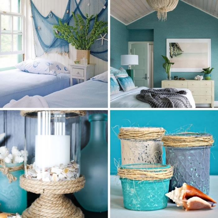 design intérieur sur thème marine, idée peinture murale pour déco plage, modèle chambre à coucher verte avec accessoire mer