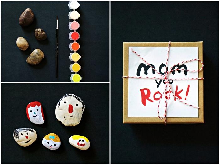 créer des portraits sur galets des membres de la famille à l'occasion de la fête des mères, activité fête des mères pour les tout petits