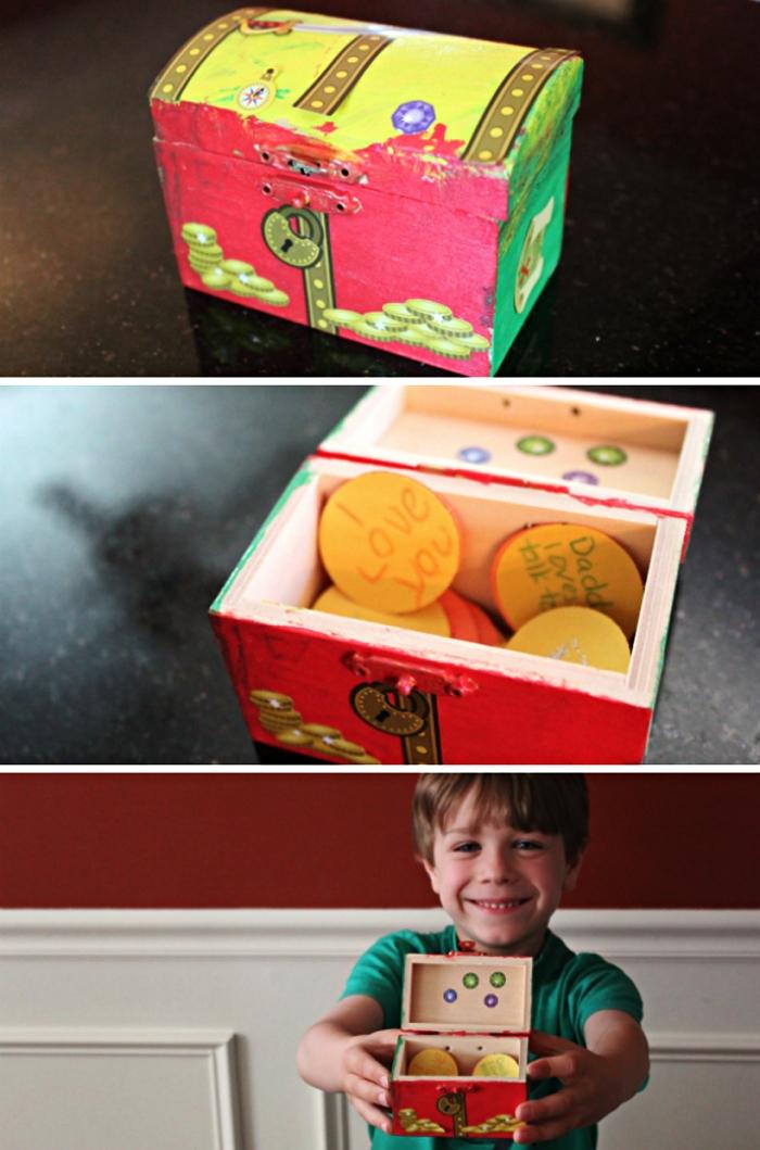 cadeau fete des peres original et personnalisé à fabriquer avec les enfants dès l'école maternelle, coffret à trésor peint et décoré de stickers contenant des petites notes de mots doux