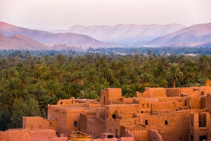 Maroc vue des palmiers et de ruines, les plus beaux pays du monde, la beaute de la nature en photo desert et civilisation en un