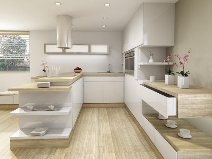 quelles couleurs dans une cuisine moderne, exemple de cuisine en u avec ilot à rangement ouvert, déco cuisine marbre et bois clair