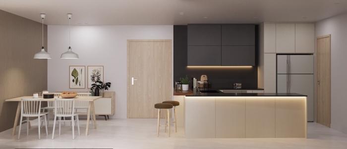 idée petite cuisine ouverte vers le salon et la salle à manger, déco de cuisine noir mate et bois avec plancher blanc