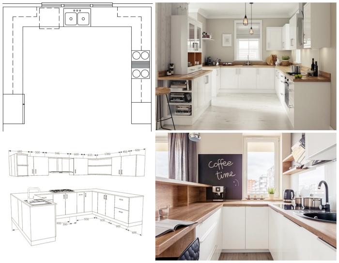 idée disposition cuisine en forme U, aménagement petite cuisine en trois zones avec plan de travail en bois et meubles blancs