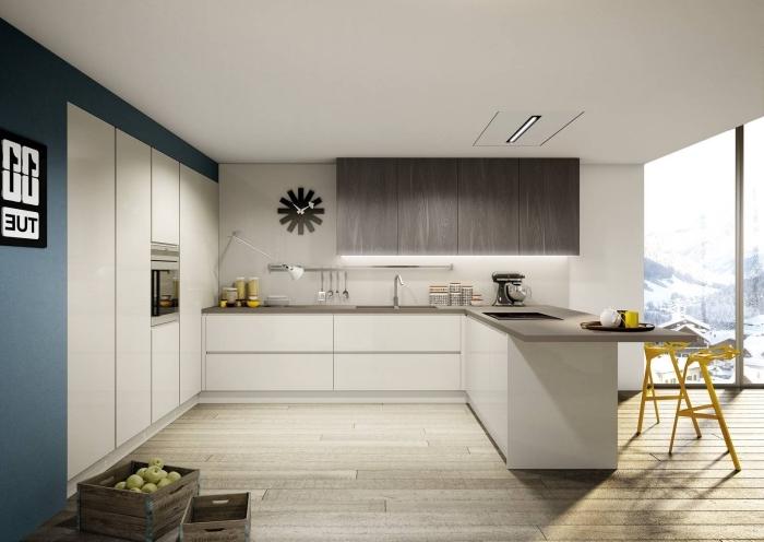design contemporain moderne dans une cuisine en u avec ilot, meubles de cuisine en blanc sans poignées à ouverture automatique