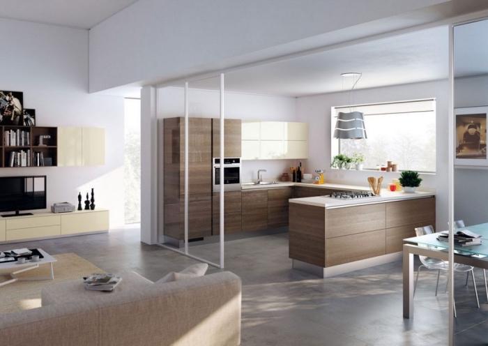 modèle de cuisine en u avec bar bois, idée cuisine blanc et bois ouverte vers le salon, exemple séparation pièce verre