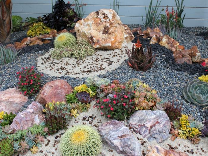 pots originaux avec succulentes, mini jardin fontaine, jardin en palettes, vieux barbecue, bois flotté