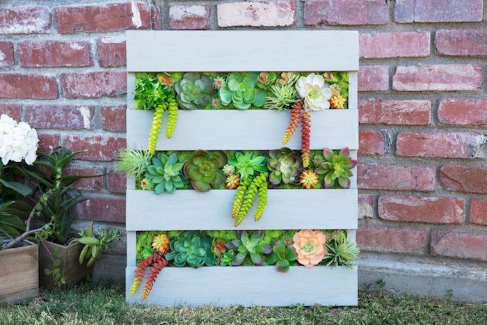 comment ranger ses plantes grasses s exterieur dans une palette recyclée et repeinte en gris avec des interstices à végétaux