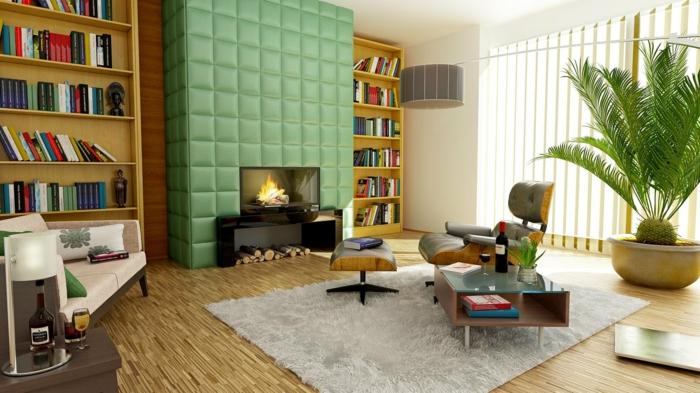 salon moderne, cheminée ouverte intéressante, sol en bois, bibliothèque contemporaine, tapis gris pâle, poêle mural