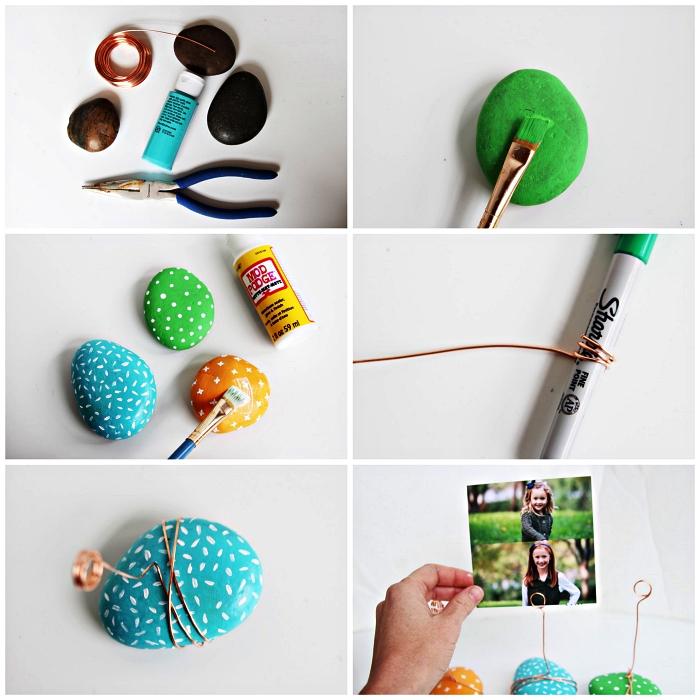 idee cadeau fete des peres original à fabriquer avec les enfants de l'école maternelle, des cailloux peints porte-photos pour la fête des pères
