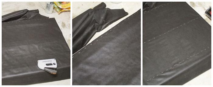 premiere etape pour faire un potager en palette, comment fixer le géotextile sur la palette avec agrafeuse