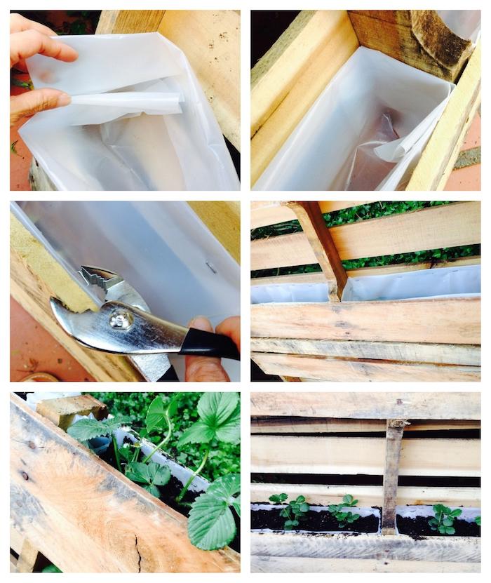 comment cultiver des fraises dans une palette, fabrication d un potager vertical avec des rangements en plastique