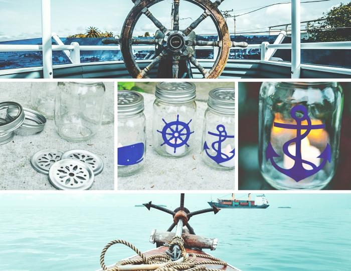 exemple recyclage bocal en verre, activité manuelle facile et rapide, exemple de decoration bord de mer pas cher DIY