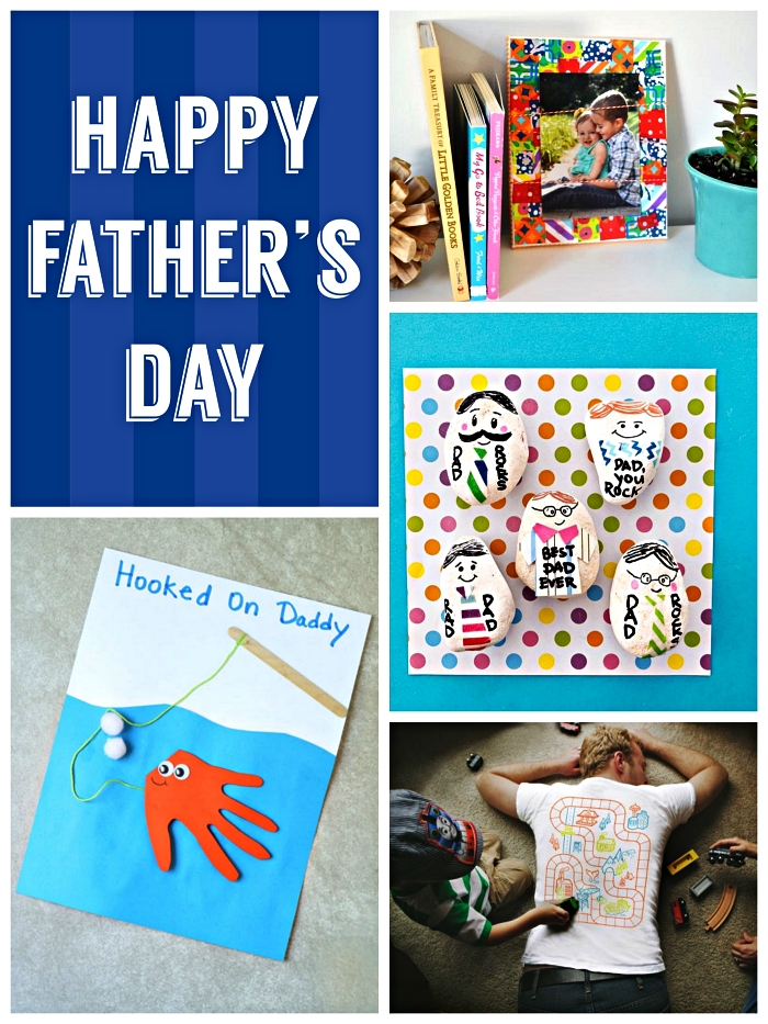 idée cadeau fête des pères à fabriquer facilement, carte pêche personnalisée avec empreinte de main, cadre photo au décor de bouts de papier imprimé