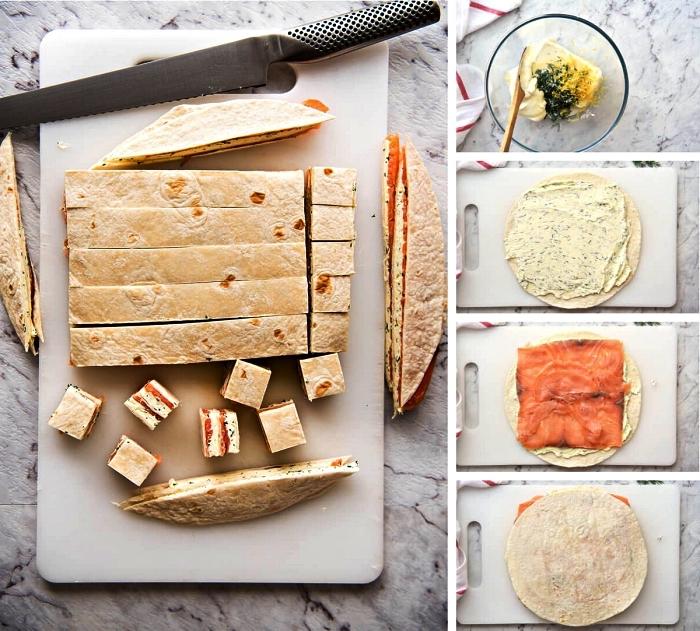 comment préparer des amuses bouches aperitif faciles et sans cuisson à base de tortilla, saumon fumé et fromage à la crème