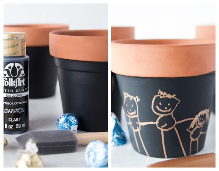 repeindre pots terracota de peinture tableau noir idee cadeaux fete des peres maternelle simples pot de bonbons diy