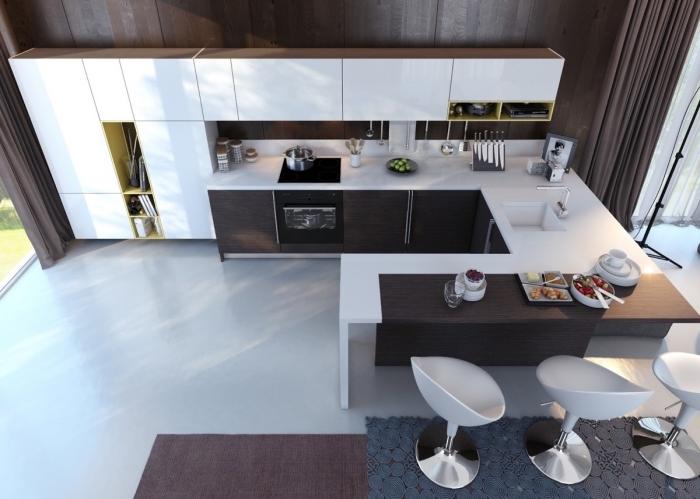 cuisine en u avec bar bimatière, décoration cuisine bois foncé et blanc avec plan de travail blanc, exemple meuble rangement vertical ouvert