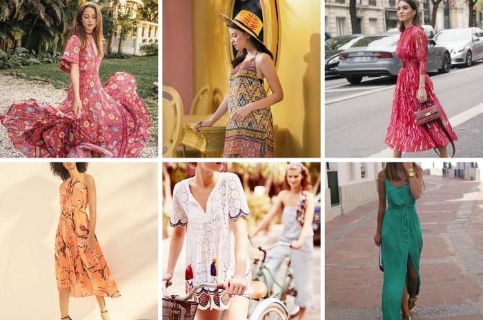 comment porter une robe de ceremonie pendant l'été, modèle de robe courte avec bretelle à design ethnique portée avec capeline