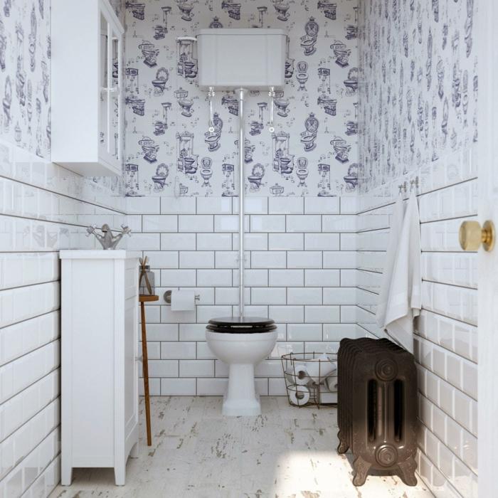 faience toilette blanc, papier peint de toilette, wc noir et blanc, miroir placard, déco toilettes vintage