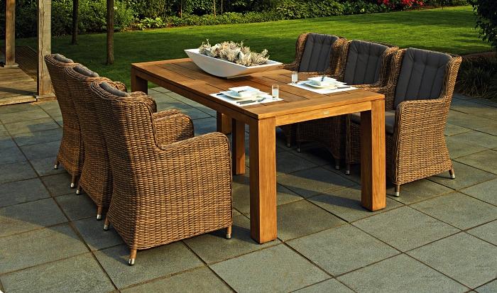 aménagement d'un coin repas avec grande table de jardin en teck entourée de chaises en résine tressée