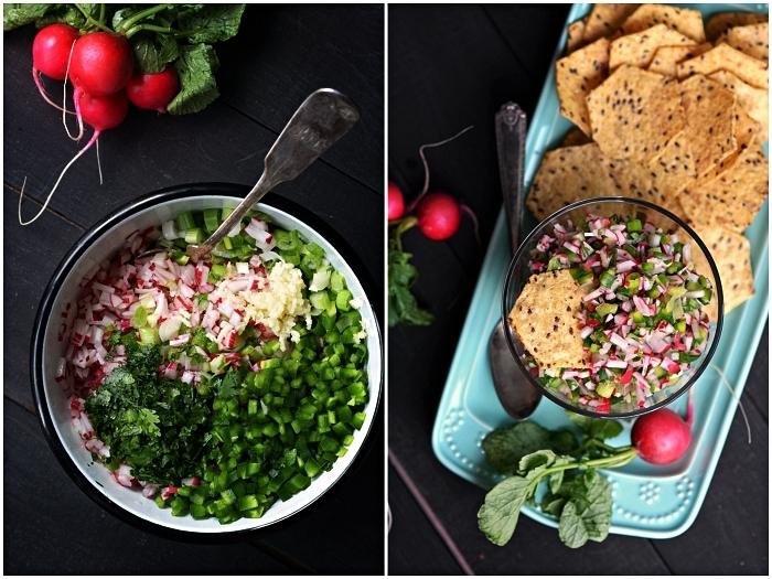 recette facile de salsa de radis pour pour aperitif dinatoire froid en toute occasion, salsa de radis à déguster sur des croustilles