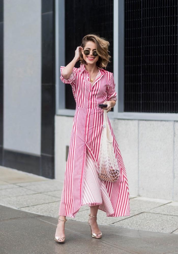 comment bien s'habiller femme, modèle de robe classe avec fente à motifs rayures, quelles couleur été 2019