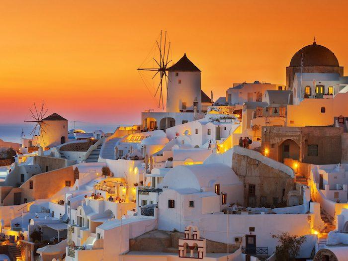 Santorin au coucher de soleil, les plus beaux endroits de france, images paysages, les plus beaux endroits du monde