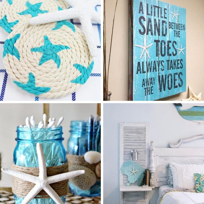 projets créatifs pour réaliser une décoration style bord de mer, modèle accessoire salle de bain DIY en bocal verre
