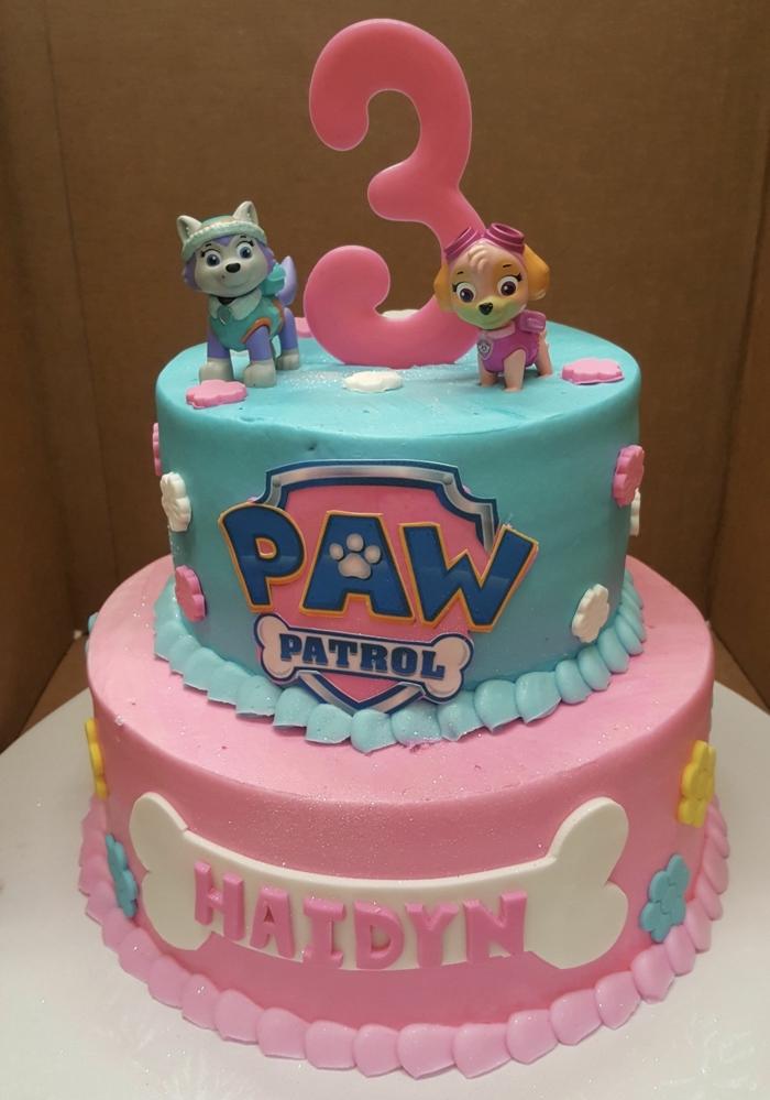 gâteau pat patrouille pour anniversaire de fille, deux figurines, gateau en bleu et rose