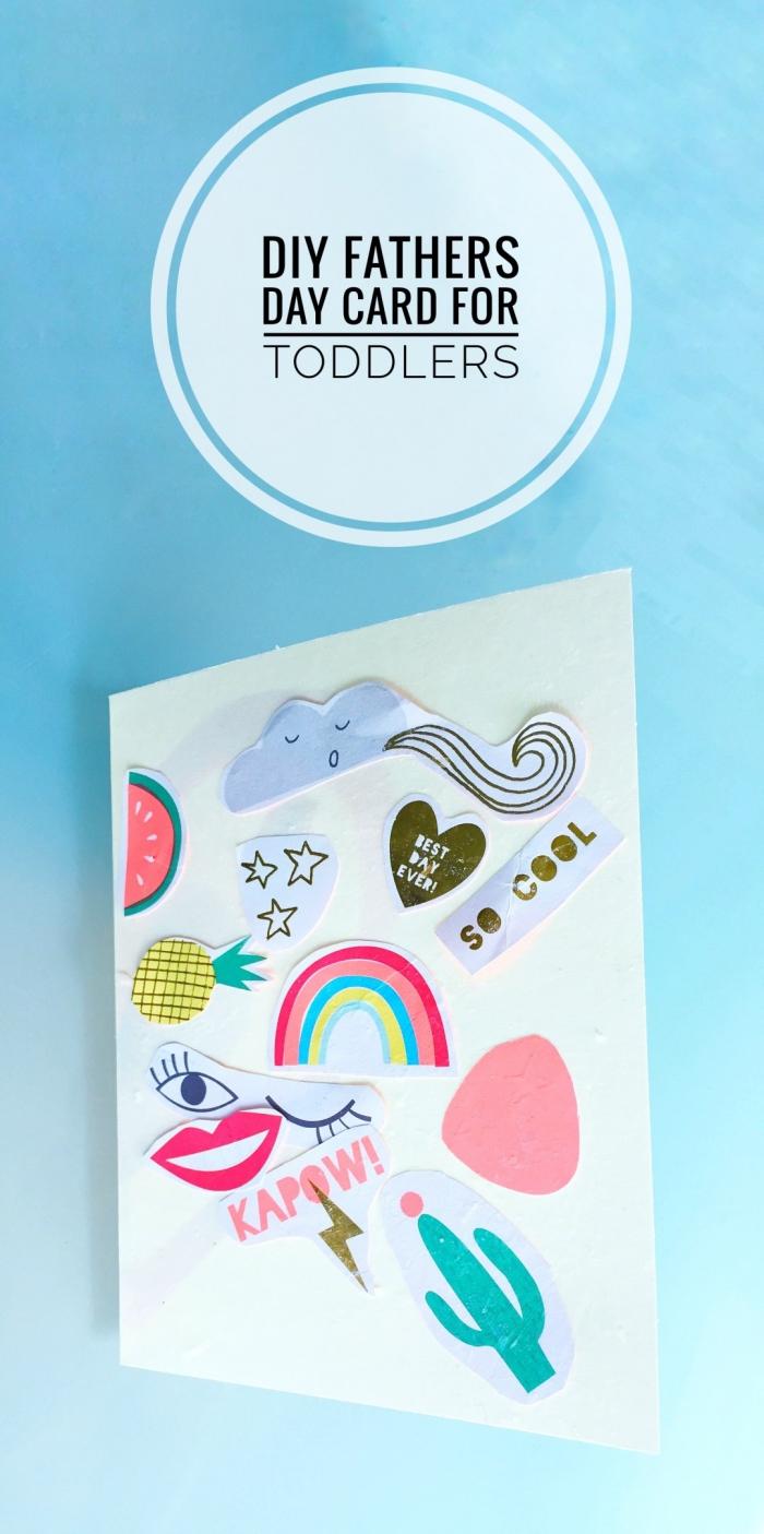 bricolage fête des pères, fabriquer une carte facile pour papa avec stickers et papier cartonné, idée carte diy enfants