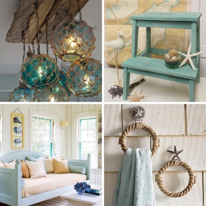 quels objets pour réaliser une decoration marine, design intérieur style bord de mer avec objets DIY en corde et bois