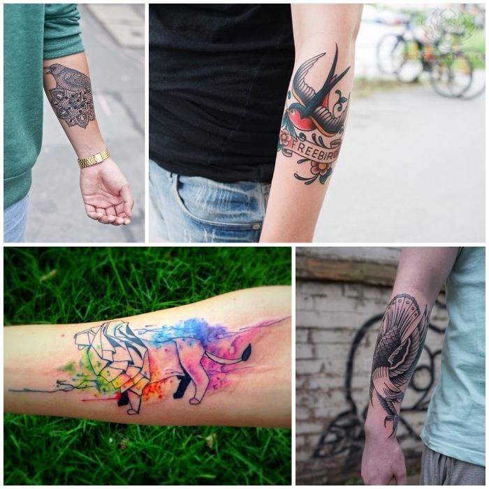 lion, oiseau et aigle tatoués sur le bras, tatouage couleur et encre noire, idées de motif de tatouage populaire