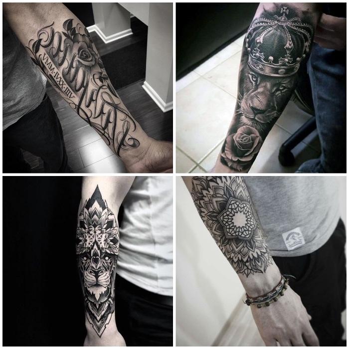 lion, mandala et citation texte de tatouage graphique sur l avant bras d un homme